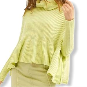 Free People Sweater Layer Cake Lime Cowl Ruffle